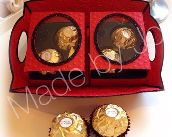 Box for two Ferrero Rocher with tray. Digital file.