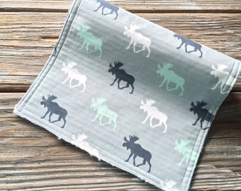 Burp Cloth ~ Geometric//Nature//Aqua//Green//Navy//Grey//Moose//Woodland