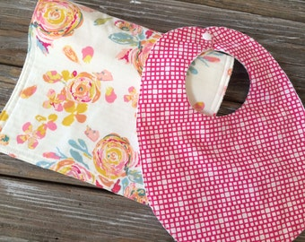 Bib/Burp Cloth Combo/Gift Set ~ Floral//Pretty//Girly//Pink//Flora//Vintage