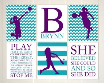 Teen Girl Inspirational Art, Basketball, Softball, Volleyball, Softball Room  Decor, Volleyball