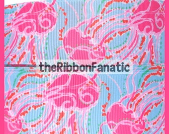 "5 yds 1.5"" Fabric Inspired Pink Aqua Orange Jellyfish Jellies   Grosgrain Ribbon"