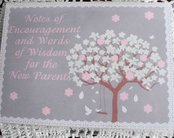 White Flowery Tree Baby Shower Advice/Activity Books Pink/Blue
