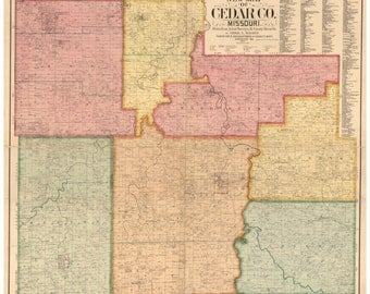 Cedar County  Missouri 1897 -  Old Wall Map with Landowner & Homeowner Names -  Reprint - Farm Lines
