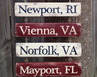 ADDITIONAL Location Board for Home is Where the Military Sends Us hand painted sign : RCMP, Marines, Air Force, Army, Navy, and Coast Guard