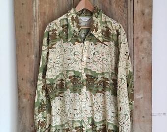 Vntg 60s Hunting Scene Shirt