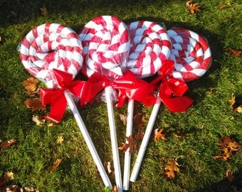 Set of 4 Red and White Giant lollipops