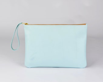 Genuine Leather Clutch, Evening Bag, Zipper Clutch, Gift for Her, Bridesmaid Gift - Light Blue