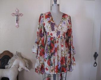 70's Butterfly Sleeve Floral Dress sz Sm