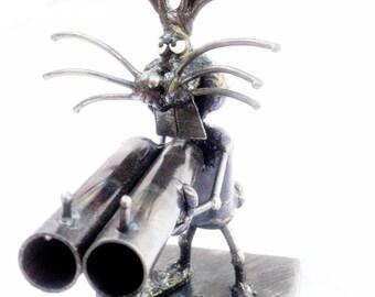 Homicidal  Rabbit with Shotgun Steel Sculpture
