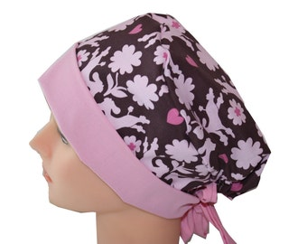 Scrub Hat Surgical Scrub Cap Chemo Chef OR Nurse Doctor Vet Hat Flirty Front Fold Pixie Pink Brown Poodles Dogs Hearts  2nd Item Ships FREE