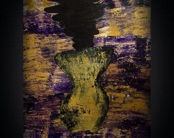 Acrylic Abstract Figure Painting On Canvas - Art Decor - Fine Art - 18x24 - Handwritten Poem On The Back By Sierra Barnes