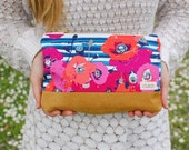 Poppies and Stripes Clutch Handbag with Tan Suede