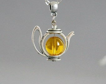 Teapot Necklace, Tea Necklace, Silver Teapot Necklace, Gift for Tea Lovers, Yellow Teapot, Yellow Calcite Crystal, Tea,Amber Pendant,Tea pot