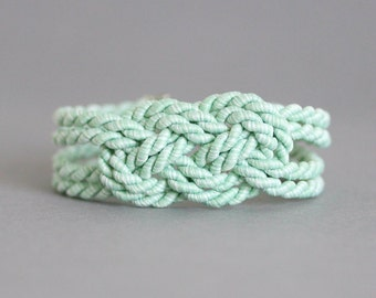 Mint Green Bracelet, Sailor Knot Bracelet, KnotBracelet, Rope Knote Bracelet, Mint Bracelet,Knotted bracelet,Sailors Knot,Nautical Bracelet,