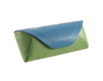 Leather glass holder // green blue (Italian calf skin)  - FREE SHIPPING, unique piece