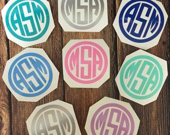 Monogram Decal Vinyl, Preppy Stickers, Initials Monogram, Phone Decal, Agenda Decal, Camelbak YetiDecal