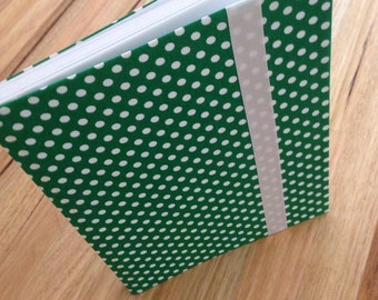 Fabric Covered Notebook - Green Spots