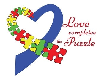 SVG Love Completes The Puzzle Autism Awareness Cuttable File - for use with silhouette cameo, cricut, Sizzix, other machines