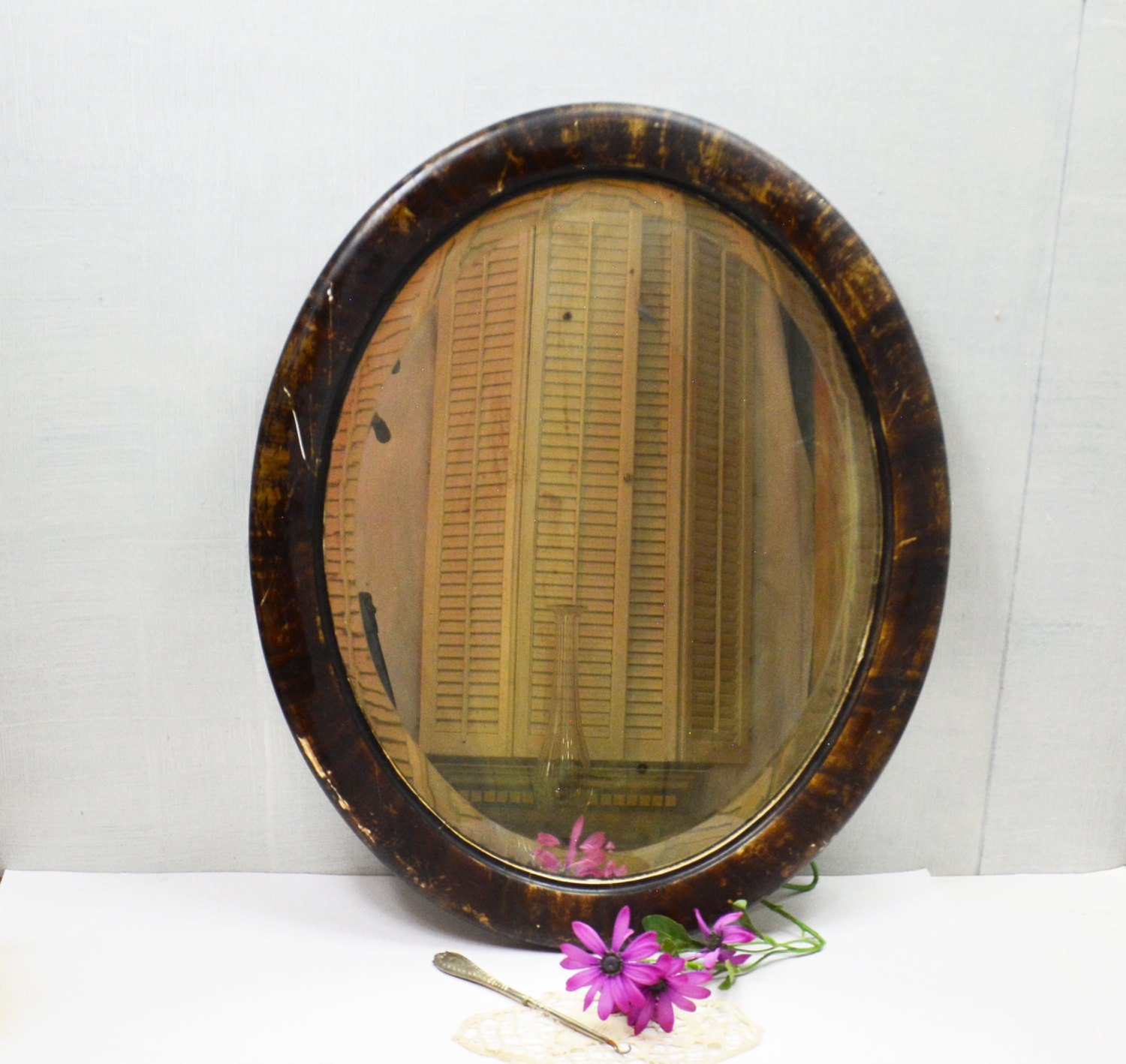 Wood framed oval mirror vintage beveled edge mirror for Beveled mirror