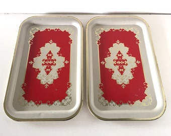 Vintage Red Tin Tray Pair