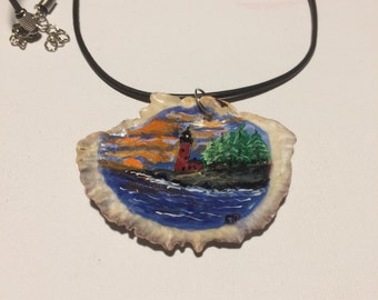 Oyster shell painting pendant