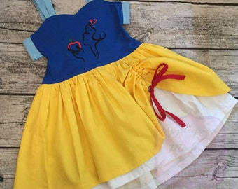 Disney Inspired Disney appliqued Sweetheart Double Skirt tie back peekaboo dress ft. Snow White and her apple sketch Sizes 6 months to 8