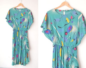 abstract geometric graphic print midi green sheer dress 70s 80s // M-L