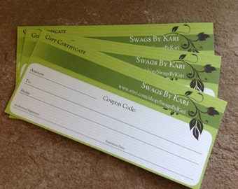 Gift Certificate, Gift Card, Christmas Gift, Birthday Gift