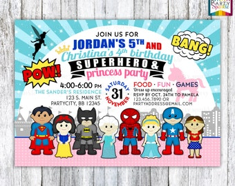 Superhero and Princess - Boys and Girl Combined Siblings Birthday Party Personalized Digital Custom Party Invitation 4x6 or 5x7 jpg or pdf
