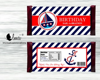 Nautical Sail-a-Bration Candy Bar Wrappers, Birthday Party Favors - Digital File