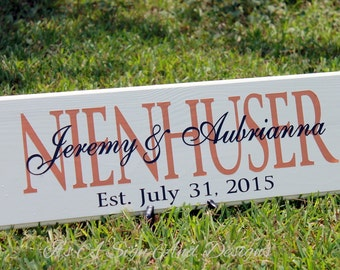 Personalized Wedding Gifts, Wood Sign with Family Last Name Established Date, Engagement Anniversary Bridal Shower Gift Unique Wedding Gift