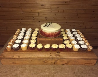 Large Cake and Cupcake Stand, Rustic, Wood * wedding, party, display, reclaimed, cup cake, dessert *