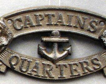"""Cast Iron """"Captain's Quarters"""" Plaque - Beach Decor - Nautical Decor"""