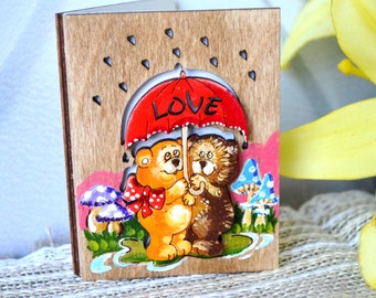 "Wooden cards ""Bears Love"", Greeting Card, Romantic Cards, Love Card, Gift For Girlfriend, Gift Boyfriend, Birthday Card"