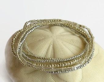 Seed bead bracelet set of 7, silver stretch bracelet, silvertones