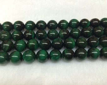 10mm Round Tigereye Beads Genuine Natural Green 15''L 38cm Loose Beads Semiprecious Gemstone Bead   Supply