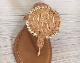 Cork Disk Monogrammed Sandal, flip flop