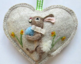 Easter Bunny Heart decoration, blue egg , needle felted rabbit among the daffodils, felt heart personalised with name.
