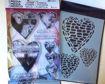 Ranger Dina Wakley Media - LOVE ROCKS Hearts Stamp & Stencil set - NEW 1.cc02