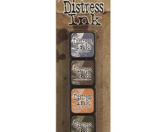 TH #9 Tim Holtz Mini DISTRESS INK Kit 9 Mini Distress Ink Pads Stormy Sky, Frayed Burlap, Dried Marigold, Forest Moss 1.cc03