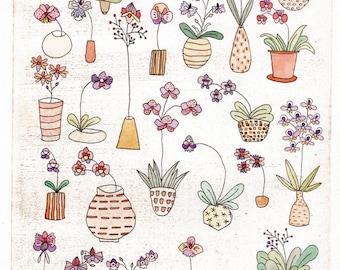 Canopy of Gentle Blooms Original Dry Point - Bloom Voyage