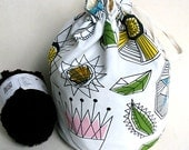 Crochet / Knitting Project Bag -  Flat Bottomed Contemporary Design
