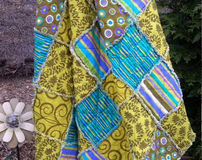 Rag Quilt Handmade Reversible - Green, Teal, Purple - Modern Quilt - Throw Size - Designer Fabric - Ready to Ship