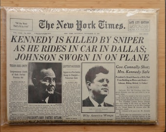 John F. Kennedy Assassination New York Times reproduction. Complete edition, 1991. newspaper Jacqueline Kennedy, JFK