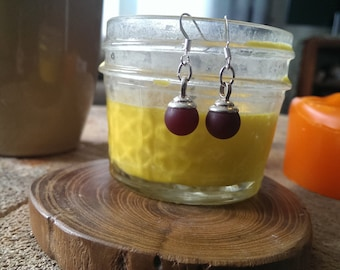 greek cranberry bauble earrings
