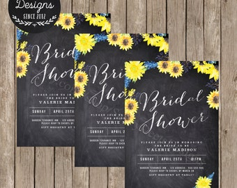 Chalkboard Sunflower Bridal Shower Invitation Printable - Rustic Sunfower Bridal Shower - DIY Printable