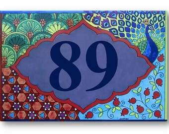 Address numbers, House number, Palm house numbers, Address sign, Hand painted sign