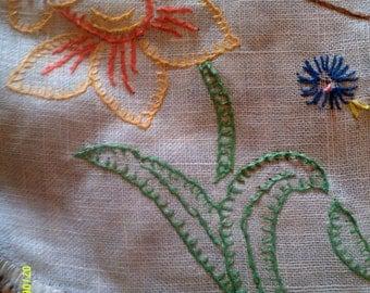 Vintage Handwork Linen Runner, Embroidered Runner, Crochet Runners, Dresser Runners, Vintage Runners, Dresser Linen