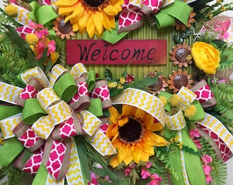 Pink and Green Sunflower Burlap Mesh Spring and Summer Wreath