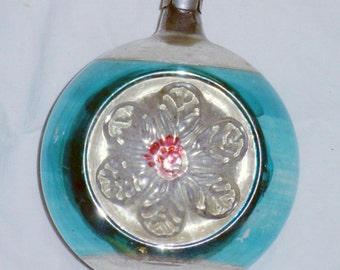 """Vintage extra large aqua and pink indent ornament with flower 4"""""""